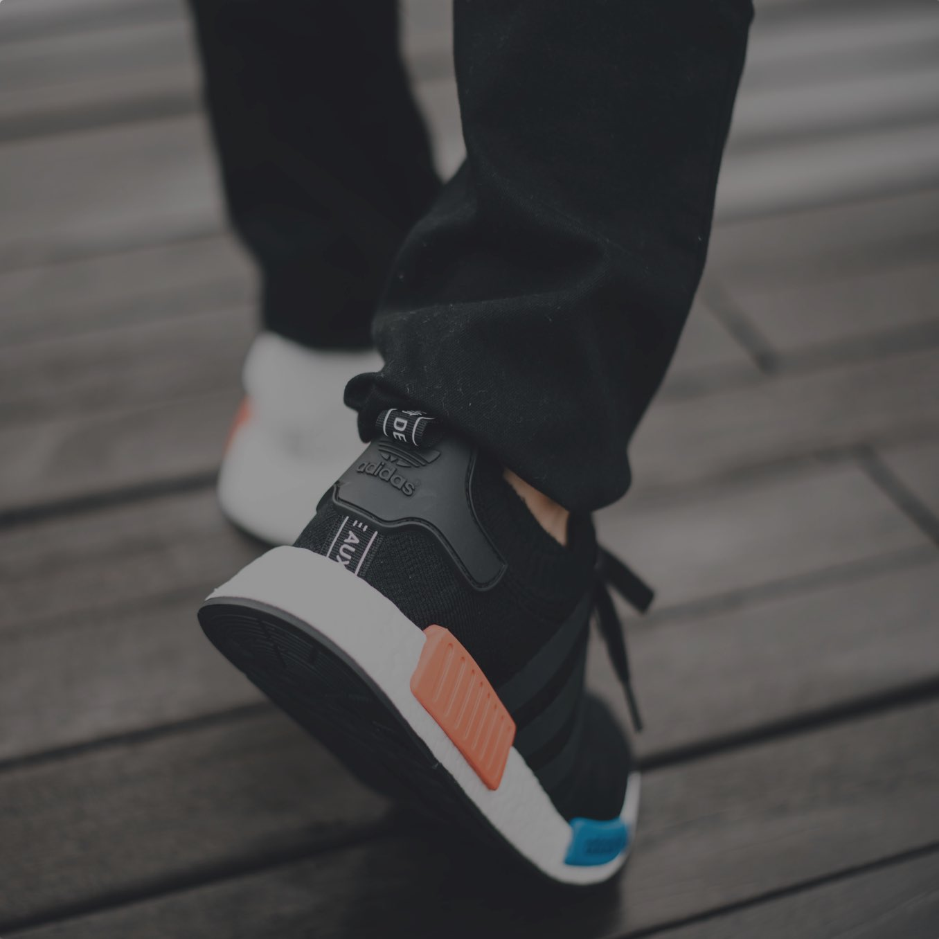 Image of a person wearing Adidas trainers